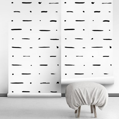 Mudcloth Paint self-adhesive free pvc ecological. etnic, raw, natural, bedroom, hall, salon. Lines black background white
