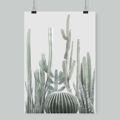 Poster Cactarium 1 - cactus, warm green and light grey background