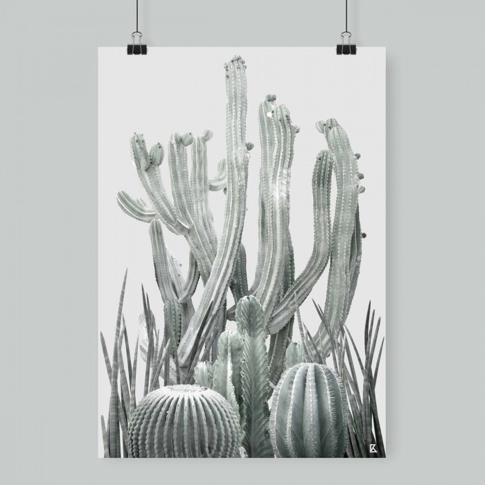 Poster Cactarium 2 - cactus, warm green and light grey background