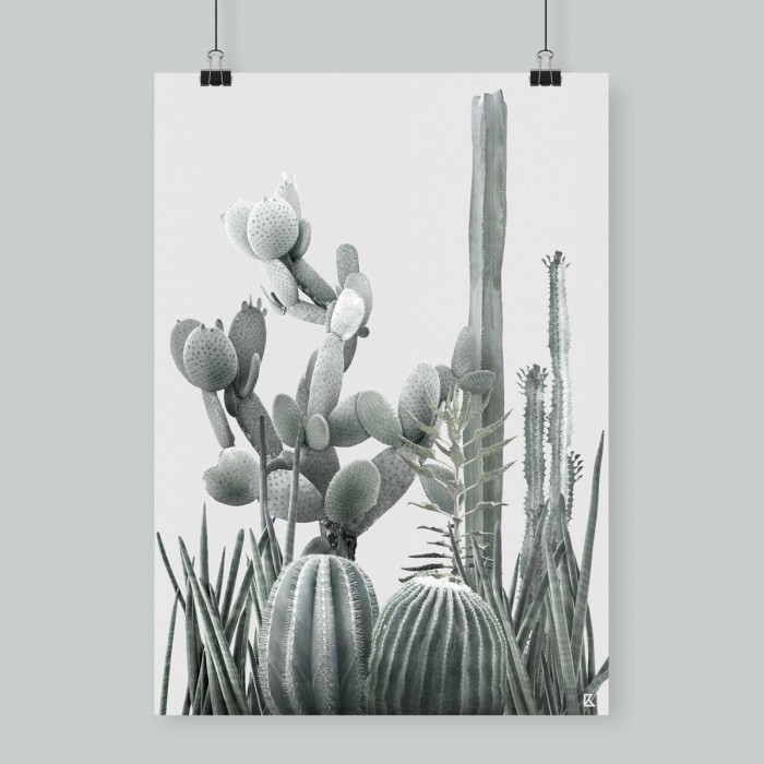 Poster Cactarium 3 - cactus, warm green and light grey background