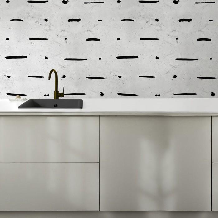 Mudcloth Paint Concrete - Self-adhesive vinyl for furniture and wall kitchen backslash  decoration. Lokoloko