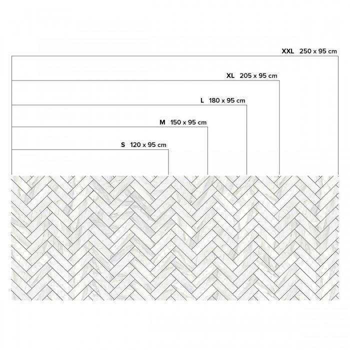 White marble herringbone tiles black joints - Horizontal sizes