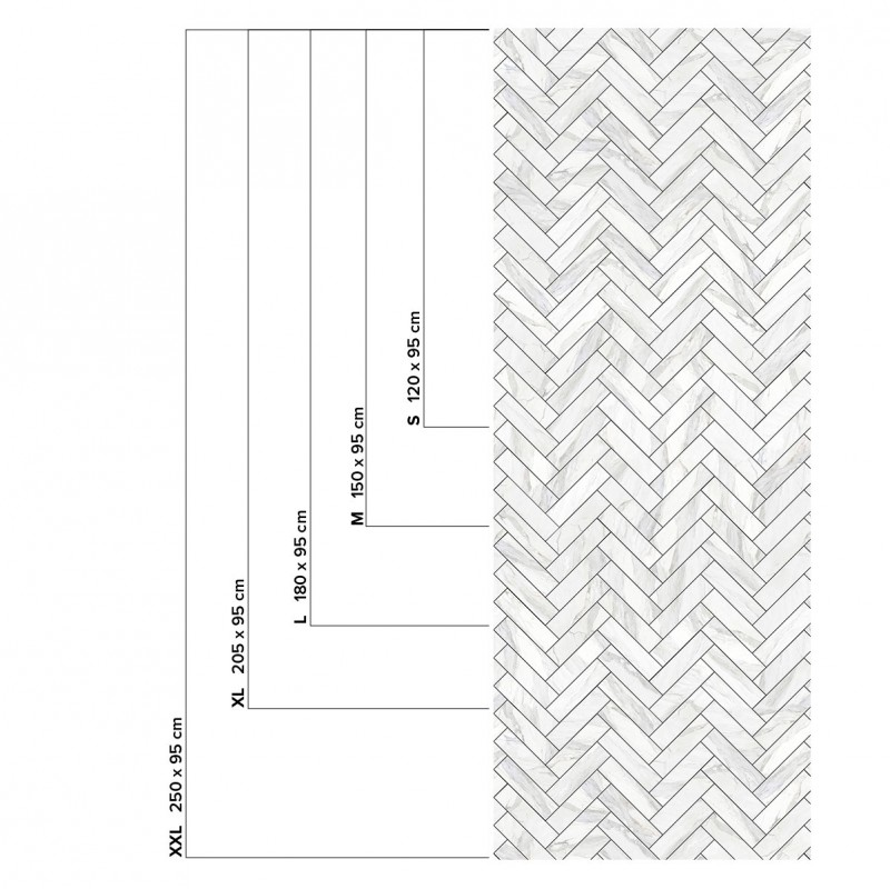 White Marble Herringbone Tiles Black Joints Washable