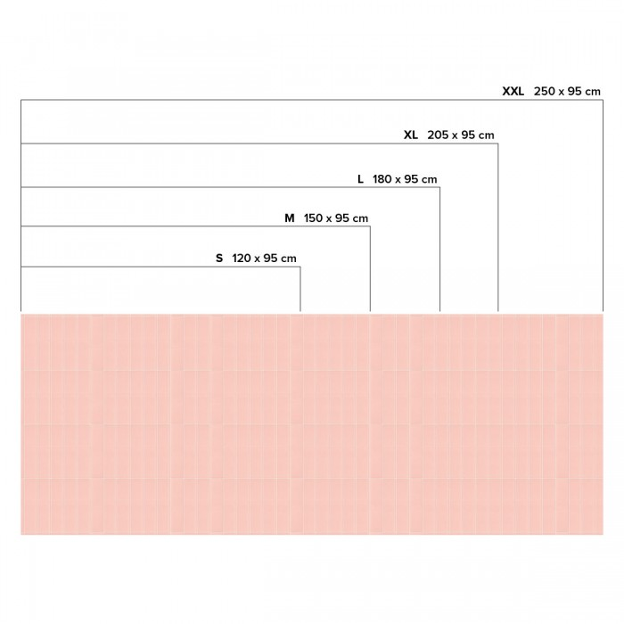 Vertical pink tiles white joints - Horizontal sizes