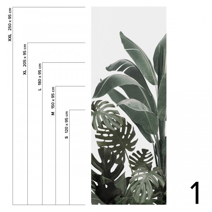Botanical Garden - Piece 1 leaves of banana trees, palms, monsteras. Washable vinyl self-adhesive wall furniture