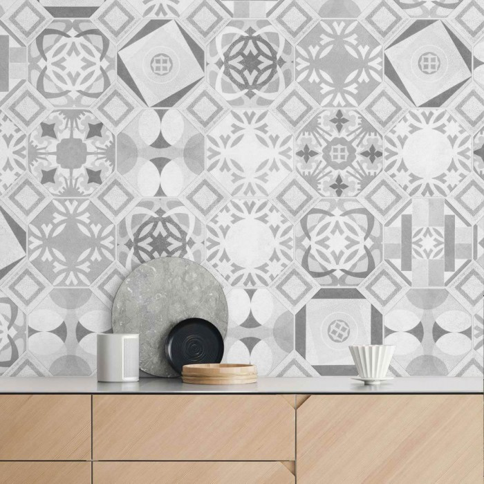 Vintage pattern 2 BW white junction - Selfadhesive vinyl for furniture, floor and wall decor