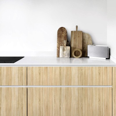 Sideboard decoration with vinyl of nice natural wood texture