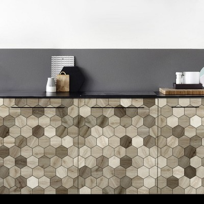 Japandi wood hexagonal tiles - sizes - vinyl washable