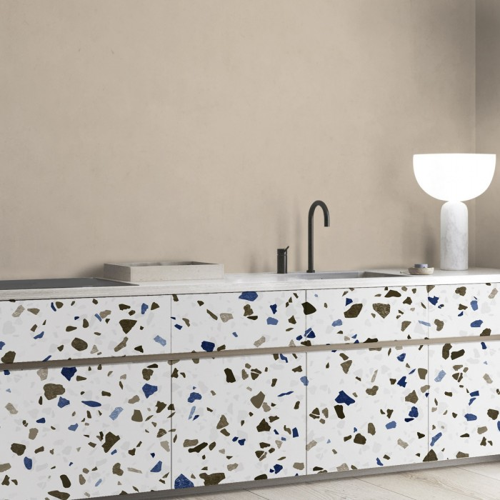 Neutral Terrazzo - detail washable self-adhesive vinyl laminate for furniture walls floors kitchens lokoloko