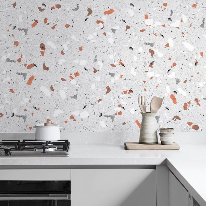 Terrazzo orange and gray - washable opaque laminated vinyl for kitchens walls floors