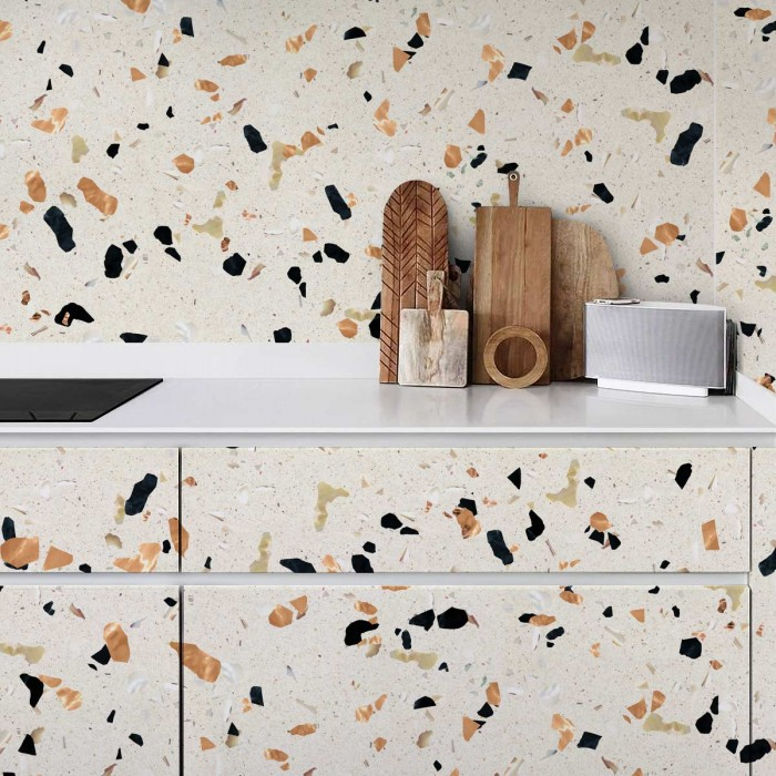 Contrast warm terrazzo - washable laminated opaque self-adhesive vinyl for furniture walls kitchens bathrooms and floors