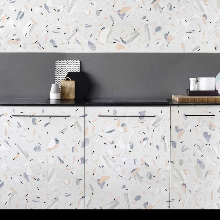 Modern Terrazzo - Washable vinyl self-adhesive opaque for furniture and floor kitchen