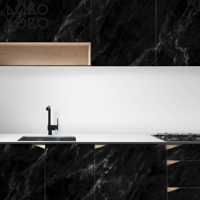 Black Marble - Washable Opaque Self Adhesive Vinyl Laminate for Kitchens Toilets Walls Floors Furniture