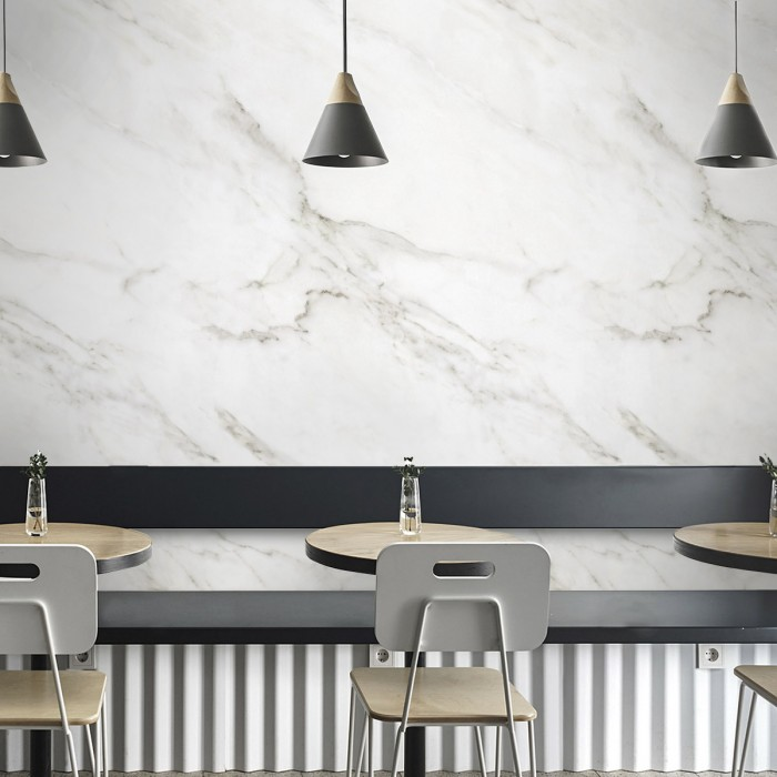 White Carrara marble - opaque washable self-adhesive vinyl for furniture walls floors cafes kitchens bathrooms toilets