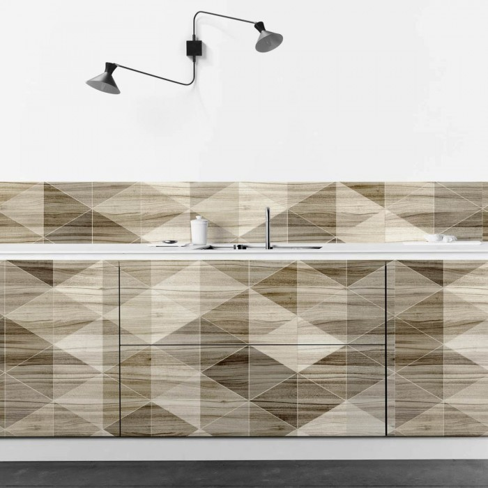 Geometric wood 2 - opaque self-adhesive washable vinyl for walls floors furniture kitchens bathrooms furniture loko loko