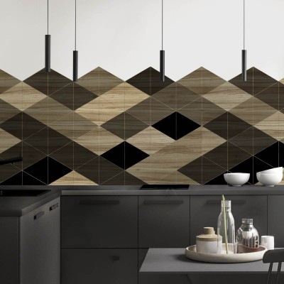 Geometric Wood 1 - measure Opaque Washable Self Adhesive Vinyl Laminate for Furniture Walls Flooring loko loko