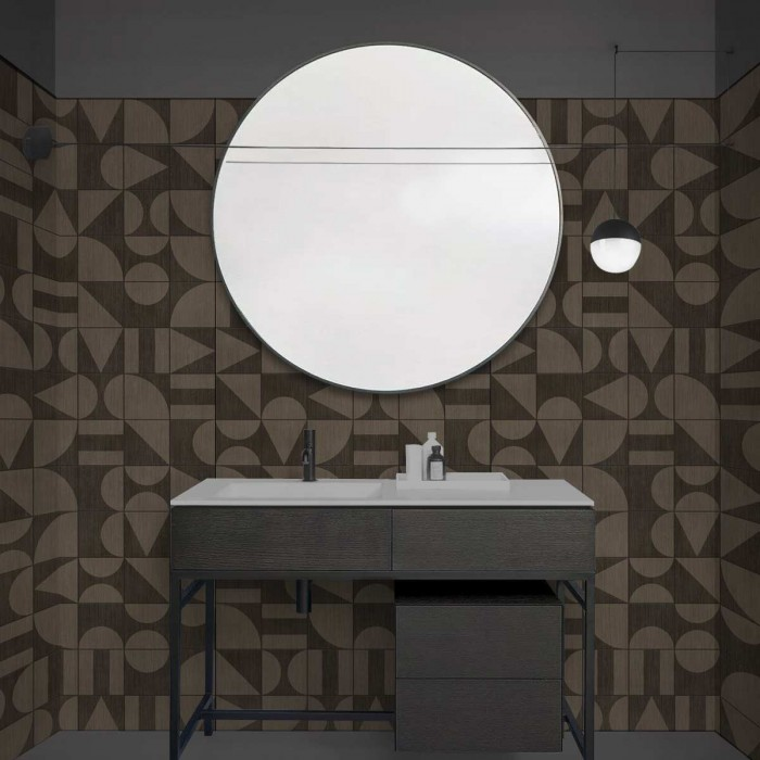 Bauhaus Ebony Wood Tiles - washable self-adhesive vinyl for walls tiles fronts tufts and kitchen furniture