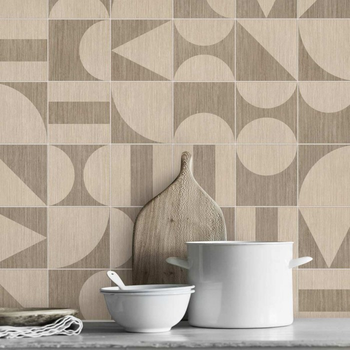 Japandi Bauhaus wood tiles - washable self adhesive vinyl laminate for kitchens furniture doors walls floors loko loko