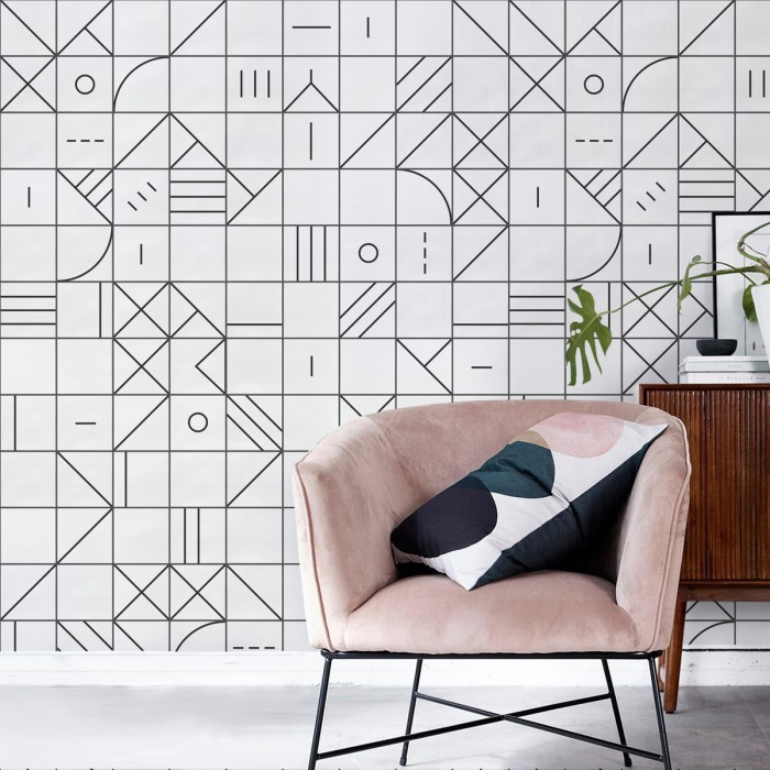 Bauhaus geometry black tiles - ECO Wall Paper self-adhesive free pvc ecological. Hall, living, bedroom