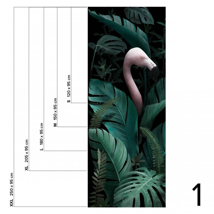 Paradiso - Piece 1 - Flamingos, plants, vegetal mural. Selfadhesive vinyl for wall decor.