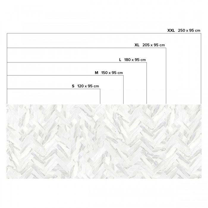 Carrara marble herringbone tiles white joints - Horizontal sizes