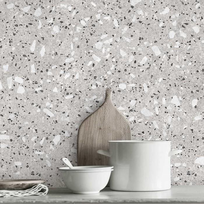 Croce Terrazzo   - washable self-adhesive opaque vynil for furniture, floor and walls backslash kitchen lokoloko