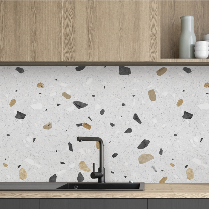 Pesaro Terrazzo - washable self-adhesive opaque vynil for furniture, floor and walls backslash kitchen lokoloko