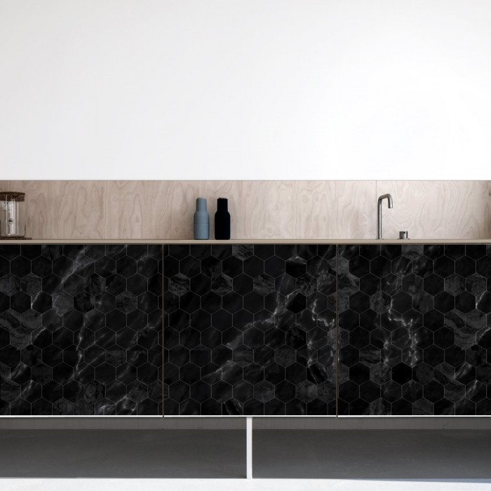 Black marble hexagonal tiles - laminated self adhesive washable vinyl for walls furniture kitchens kitchen fronts
