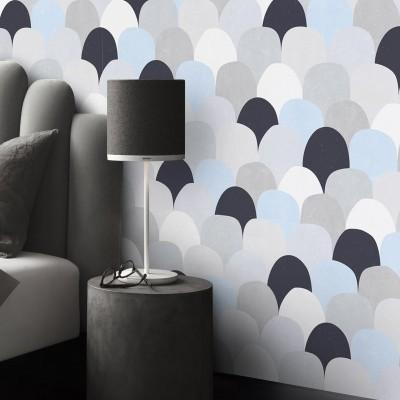 Bluish fish scales - Geometric Washable Self Adhesive Vinyl for Walls Headboards Bedrooms Wardrobes Doors Furniture Floors
