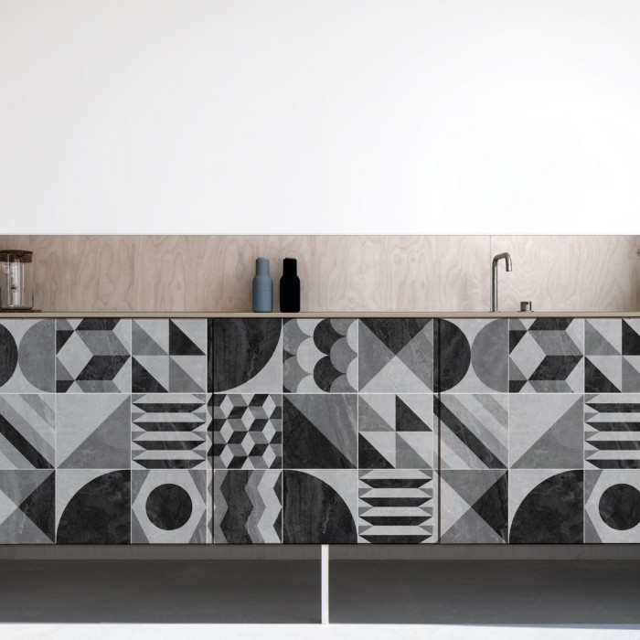 Dark vintage geometry washable laminated self-adhesive vinyl for furniture walls flooring sizes lokoloko