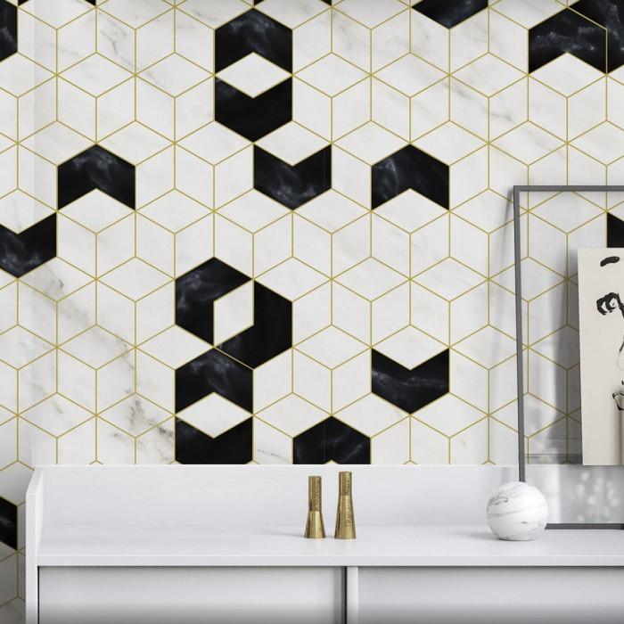Art Deco Hexagons Washable Self Adhesive Vinyl For Furniture Walls Flooring Living Rooms Hallways Indoor Living Rooms Lokoloko