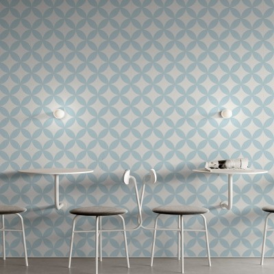 Danish blue circles mosaic washable self-adhesive vinyl for furniture walls floors geometric measurements lokoloko