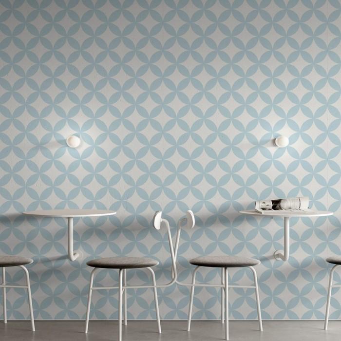 Danish blue circles mosaic washable self-adhesive vinyl for furniture walls floors geometric detail lokoloko