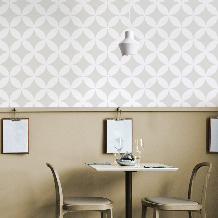 White circles mosaic washable self-adhesive vinyl for furniture walls floors modern geometric sizes lokoloko