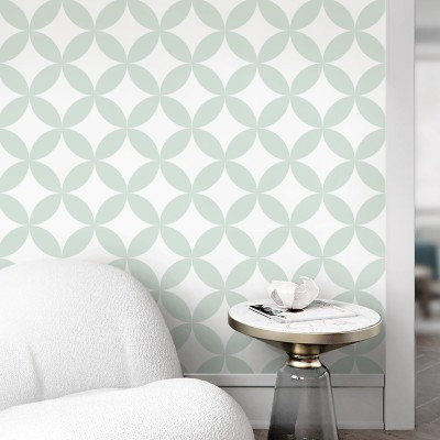Serene mint circles mosaic washable self adhesive vinyl for floor walls furniture modern geometric lokoloko