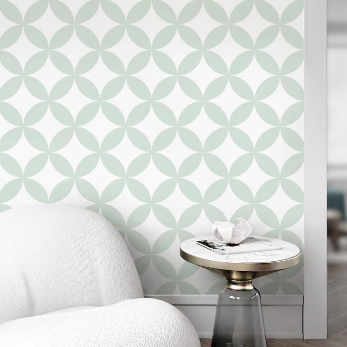 Serene mint circles mosaic washable self adhesive vinyl for floor walls furniture modern geometric lokoloko