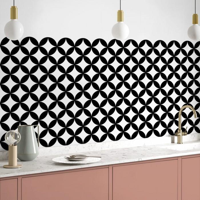 Black circles mosaic geometric washable self-adhesive vinyl for floors walls furniture kitchens bedrooms lokoloko