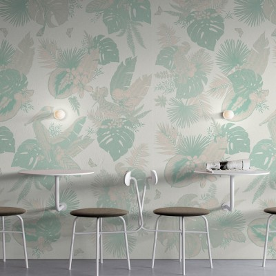 Miami Birds - Piece 1 -  leaves of banana trees, palms, monsteras. Washable vinyl self-adhesive wall furniture