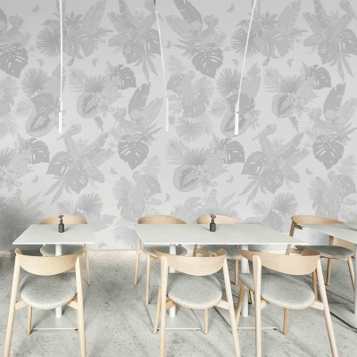Miami Birds b&n - Piece 1 - mural leaves of banana trees, palms, monsteras. Washable self-adhesive vinyl for decor. Lokoloko