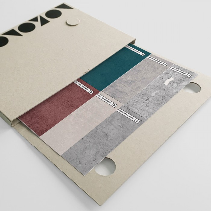 Samples folder of concretes, cements and stones - vynil for furniture and walls and wallpaper eco