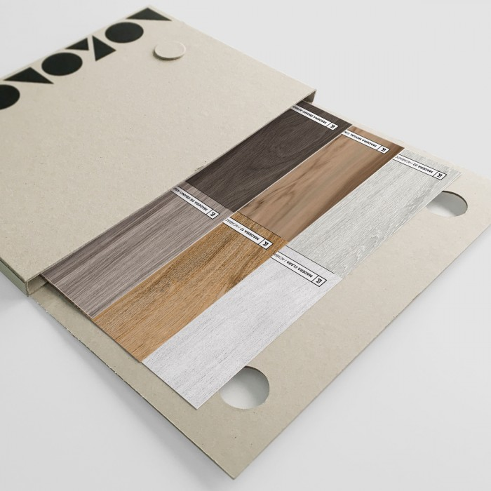Samples folder of wood - self-adhesive washable vynil and wallpaper