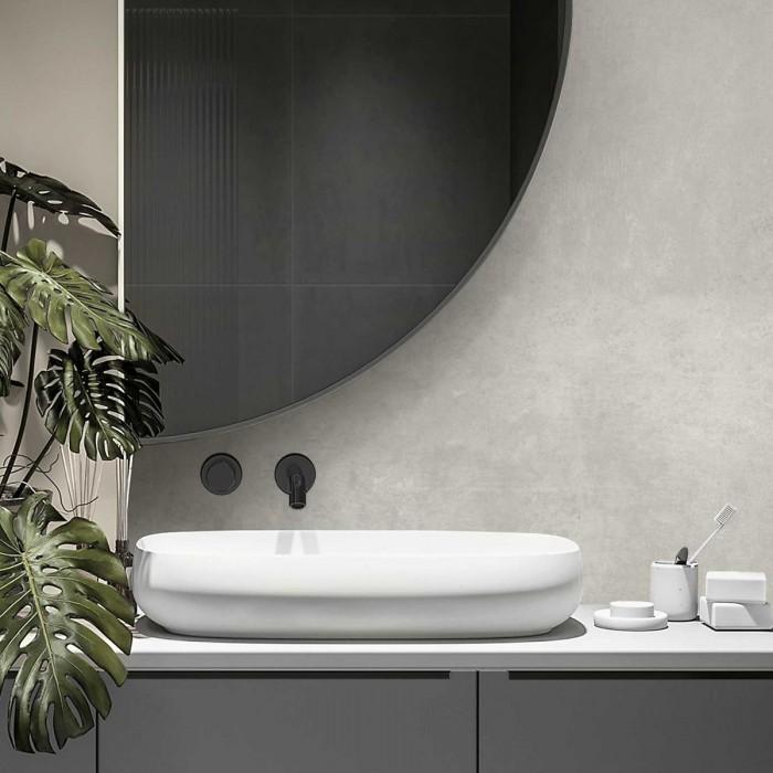 Cuzco cement self-adhesive washable vinyl for washbasin wall with tiles in bathroom or toilet wabisabi gray lokoloko