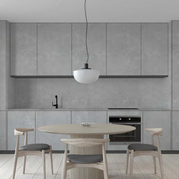 Corbusier cement self-adhesive washable vinyl for walls, furniture and floors kitchens tile backslash gray minimal lokoloko
