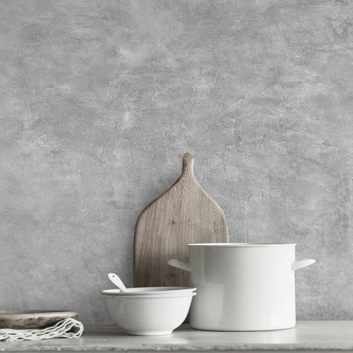 Hermit Cement - self-adhesive washable vinyl for walls, furniture and floors kitchens tile backslash gray minimal lokoloko