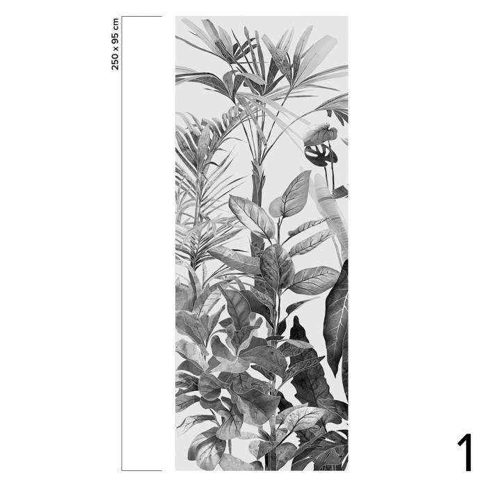 Tropicalia Black & White - piece 1 - self-adhesive ecological free pvc wall mural. Tropical style, nordic, bedroom, hall, salon