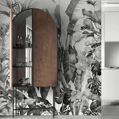 Tropicalia Black & White- ECO Wall Mural