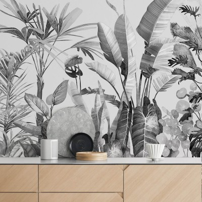 Tropicalia Black & white - piece 1 - Vinyl Wall Mural