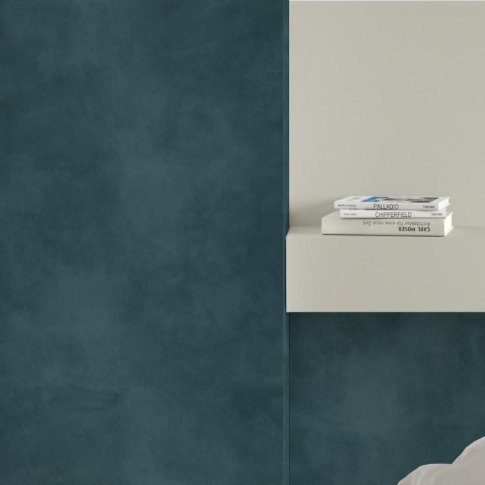Dark turquoise concrete - Self-adhesive eco-friendly PVC-free wallpaper for living rooms bedrooms halls corridors lokoloko