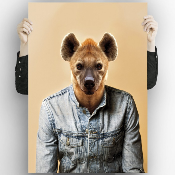 Hyena Model Printed poster for decorative paintings with the spectacular image of a very fashionable hyena