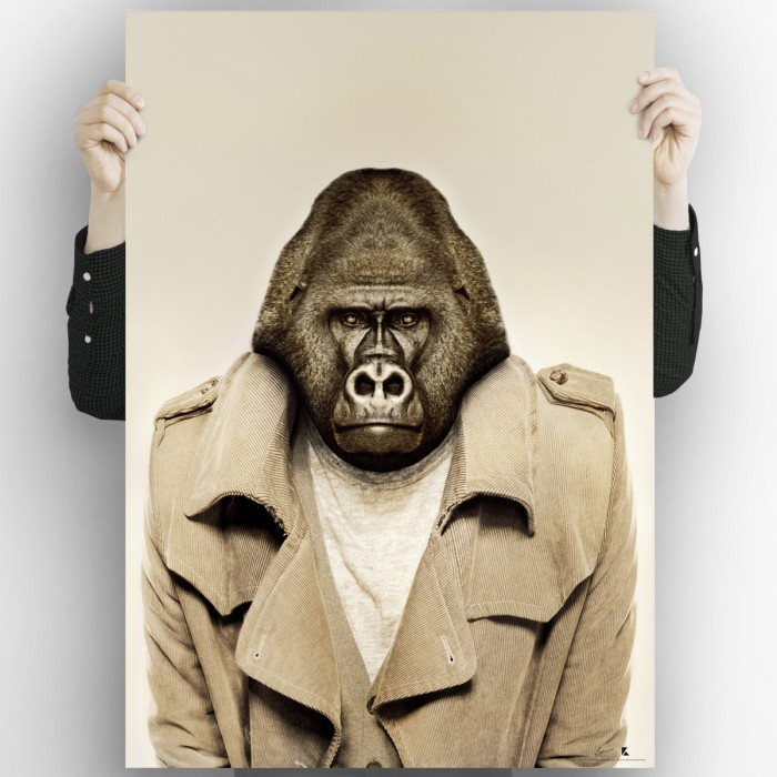 Gorilla model waterproof poster for exterior or interior printed in high quality. lokoloko